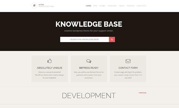 Altera stylish WordPress support theme