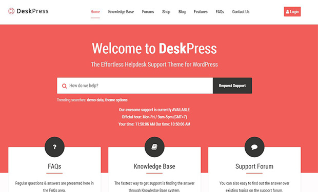 DeskPress fully featured WordPress Support Theme